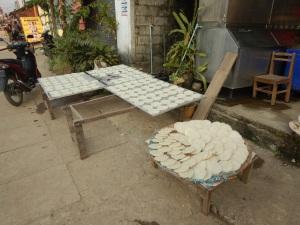 galettes de riz en préparation